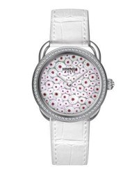 Hermes 34Mm Arceau Millefiori Watch With Diamonds White Red