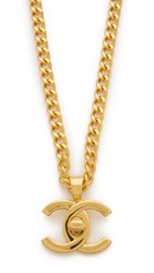 Wgaca Chanel Turn Lock Charm Necklace Previously Owned Gold