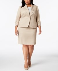 Le Suit Plus Size Ruched Sleeve Textured Skirt Taupe