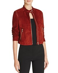 Theory Studded Suede Moto Jacket Chili
