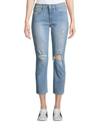 Levi's Premium Curvy Straight Leg Cropped Distressed Jeans Blue