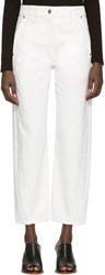 Christophe Lemaire White Denim Twisted Trousers