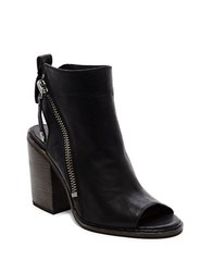 Dolce Vita Port Leather Peep Toe Ankle Booties Black