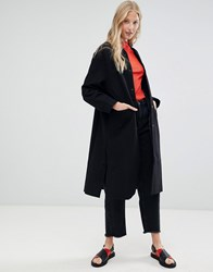 D.Ra Leanne Tailored Longline Coat Brushed Black