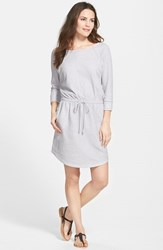 Petite Women's Caslon Stripe Three Quarter Sleeve Drawstring Waist Dress Grey Cloudburst White Stripe