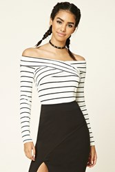 Forever 21 Striped Surplice Front Top Ivory Black