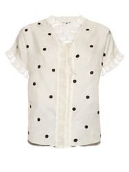 Jupe By Jackie Polka Dot Embroidered Silk Organza Blouse White Black