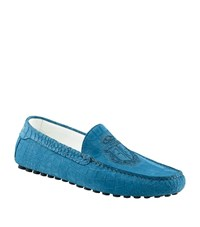 Billionaire Croc Embossed Stamped Driver Shoe Male Light Blue