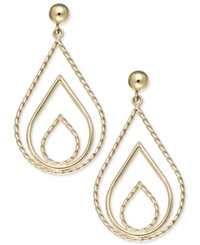 Macy's 10K Gold Earrings Polished And Rope Triple Teardrop Earrings