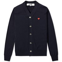 Comme Des Garcons Play Little Red Heart Cardigan Blue