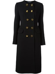 Dolce And Gabbana Collarless Long Coat Black