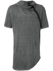 Lost And Found Ria Dunn Draped Neck Hooded T Shirt Men Linen Flax Spandex Elastane M Grey