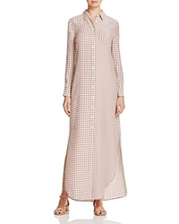 Equipment Brett Maxi Shirt Dress Tan Plaid