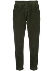 Massimo Alba Corduroy Cropped Trousers Green