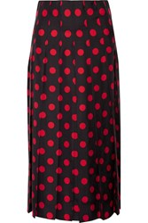 Gucci Pleated Polka Dot Silk Satin Twill Midi Skirt Black
