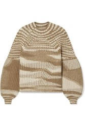 Ulla Johnson Lucille Striped Ribbed Alpaca Blend Sweater Camel