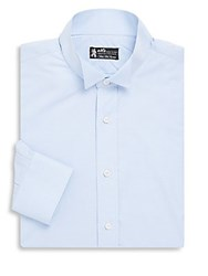 Kiton Printed Cotton Dress Shirt Light Blue