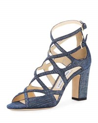 Jimmy Choo Dillan Caged Denim Print 85Mm Sandal Light Indigo Blue