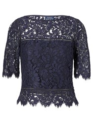 Polo Ralph Lauren Scalloped Lace Top Admiral Navy