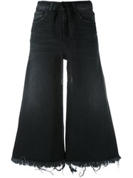 Off White Printed Wide Leg Cropped Jeans Women Cotton Spandex Elastane 27 Black