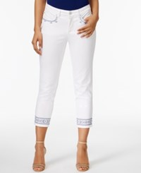 Charter Club Bristol Embroidered Capri Jeans Only At Macy's White Wash Embroidery