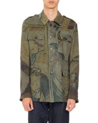 Dries Van Noten Baez Floral Print Linen Military Jacket Dark Brown