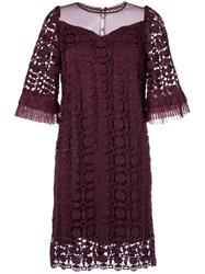 Aula Lace Detail Ruffled Sleeve Dress Polyester Red