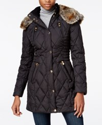 Laundry By Design Petite Faux Fur Trim Quilted Puffer Coat Black Snow Chic