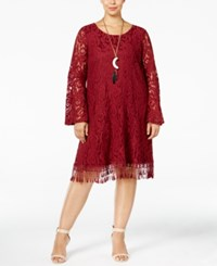 Plus Size Lace Fringe Trim Dress Wine