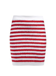 Balmain Stripes And Sequins Knit Skirt Red Multi