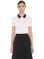 Rochas Virgin Wool Blend Knit Polo Top White