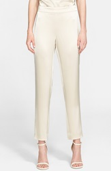 St. John 'Emma' Liquid Satin Crop Pants Chino