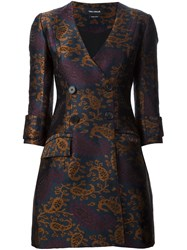 Yigal Azrouel Jacquard Double Breasted Coat Dress Blue