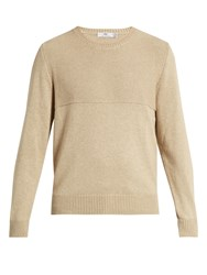 Inis Meain Cotton Cashmere And Silk Blend Sweater Beige