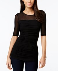 Inc International Concepts Short Sleeve Ruched Illusion Top Only At Macy's