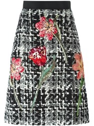 Dolce And Gabbana Flower Boucle Knit Skirt Black
