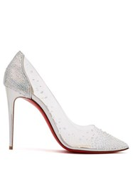 Christian Louboutin Degrastrass 100 Crystal Embellished Pvc Pumps Silver