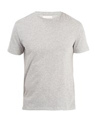 Solid And Striped Crew Neck Cotton Jersey T Shirt Grey