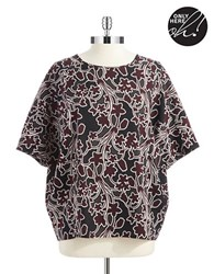 Lord And Taylor Petite Floral Dolman Sleeved Top Red Grape