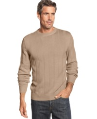 John Ashford Big And Tall Ribbed Crew Neck Sweater Toasted Beige