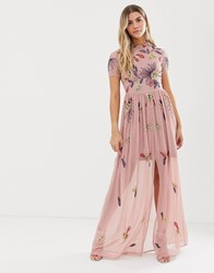 Frock And Frill Floral Embellished Maxi Dress In Dusky Rose Pink