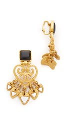 Wgaca Chanel Stone Heart Drop Earrings Previously Owned Gold