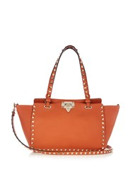 Valentino Rockstud Small Leather Tote Orange