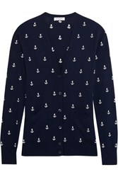 Equipment Sullivan Anchor Embroidered Knitted Cardigan Navy