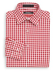Saks Fifth Avenue Trim Fit Gingham Check Dress Shirt Red