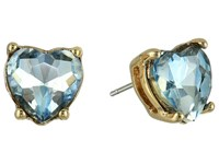 Betsey Johnson Stone Heart Stud Earrings Blue Earring