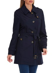 Betty Barclay Belted Trench Coat Navy Blue