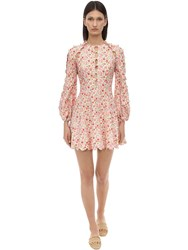 Zimmermann Printed Cut Out Linen Mini Dress Coral Blossom
