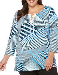 Rafaella Plus Three Quarter Sleeve Striped Top Blue