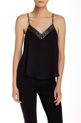 Astr V Neck Beaded Cami Black